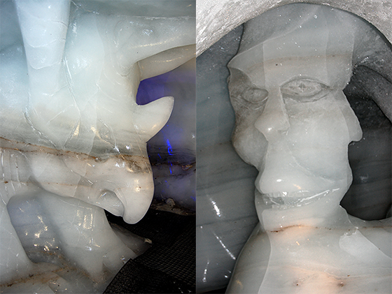 Image : Grotte de glace : sculptures rhinocéros et tête